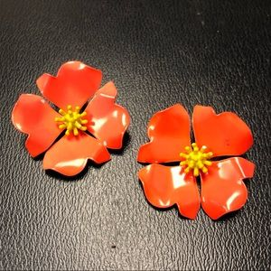 Retro Vintage Enamel Flower Earrings